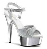 Pleaser USA DELIGHT-609G Silver Glitter & Chrome Peep Toe Sandal