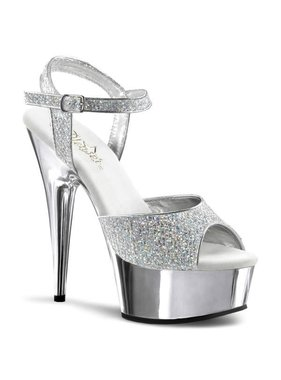 Pleaser USA DELIGHT-609G - Silver Glitter & Chrome Peep Toe Sandal
