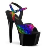 Pleaser USA ADORE-709RB Holographic Rainbow Print Platform Sandal