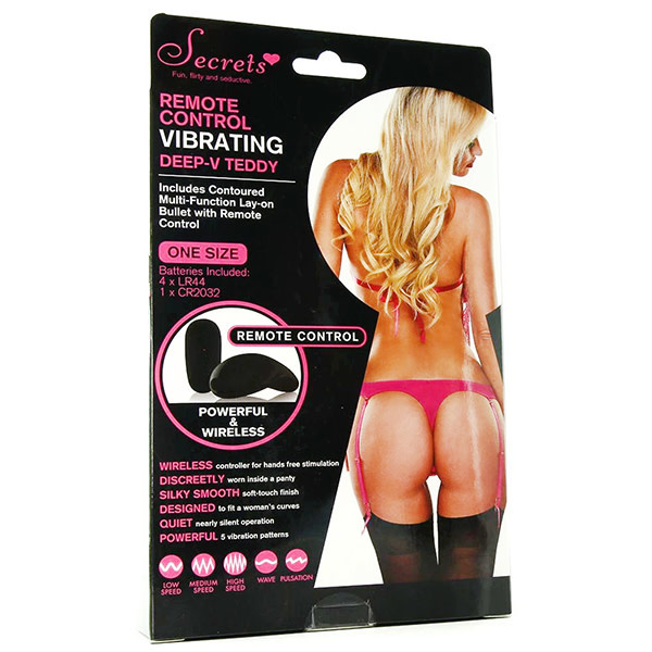 X-Gen Products Deep-V Lace Remote Vibrating Teddy (Pink)
