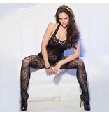Shirley of Hollywood Halter Stretch Lace Open Front Bodystocking