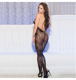 Shirley of Hollywood Halter Stretch Lace Open Front Bodystocking (One Size)