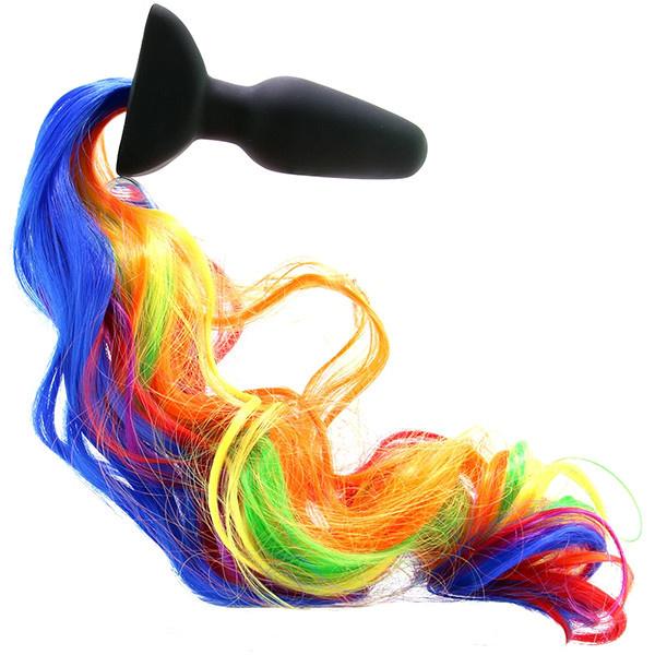 XR Brands Tailz Rainbow Pony (Unicorn) Vibrating Anal Plug