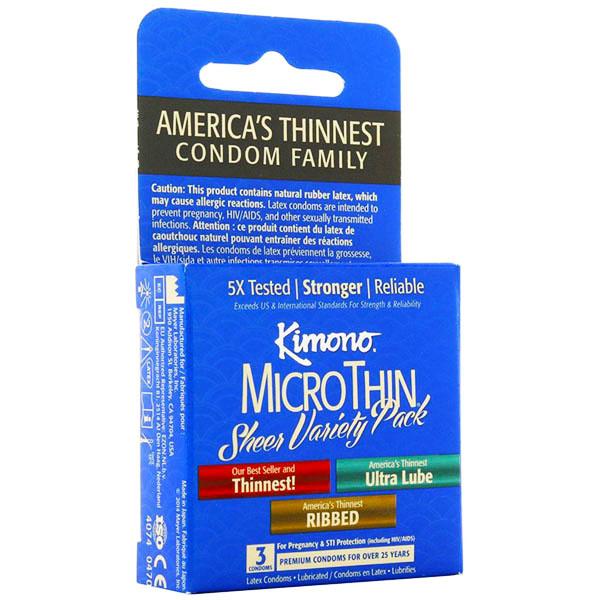 Kimono Condoms Kimono MicroThin Variety Pack Condoms   3 Pack