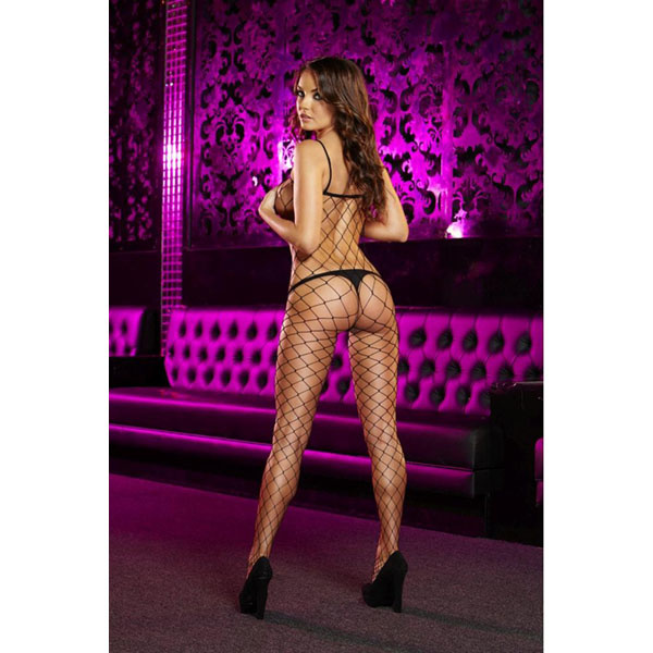 Lapdance Lingerie Crotchless Black Fencenet Bodystocking (One Size)