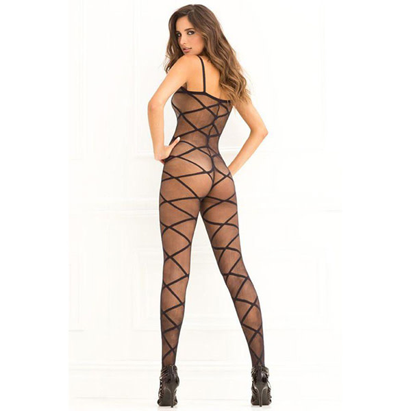 Rene Rofe Lingerie Strapped Up Sheer Bodystocking (One Size)