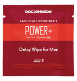 Doc Johnson Toys Delay Wipes for Men Power+ with Yohimbe (10 Pack)