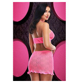 Lapdance Lingerie Hot Pink Jacquard Crop Top & Skirt Set (One Size)