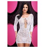 Lapdance Lingerie Lace off the Shoulder White Mini Dress (One Size)