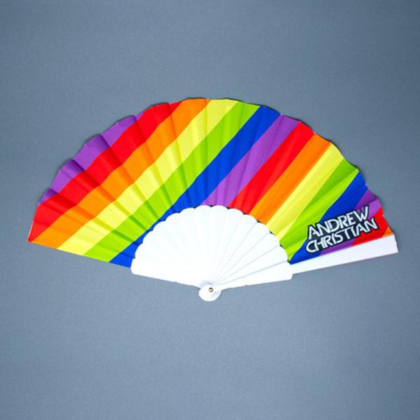 """Andrew Christian Menswear Pride Stripe Fan (16"""")"""