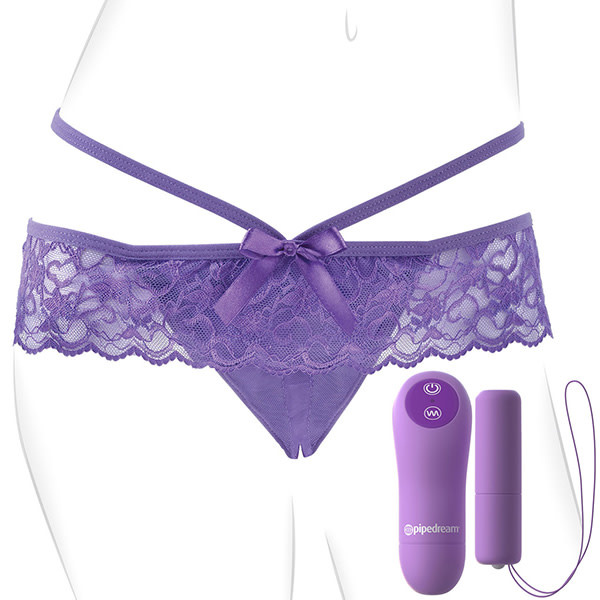 Pipedream Products Fantasy For Her Crotchless Panty Thrill-Her Vibe (Purple)