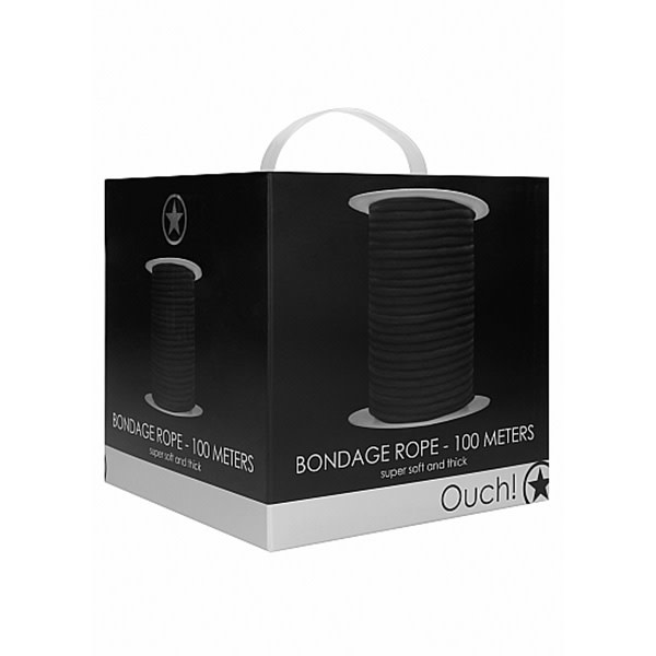 Shots America Toys Ouch! 100 Meter Thick and Soft Bondage Rope (Black)