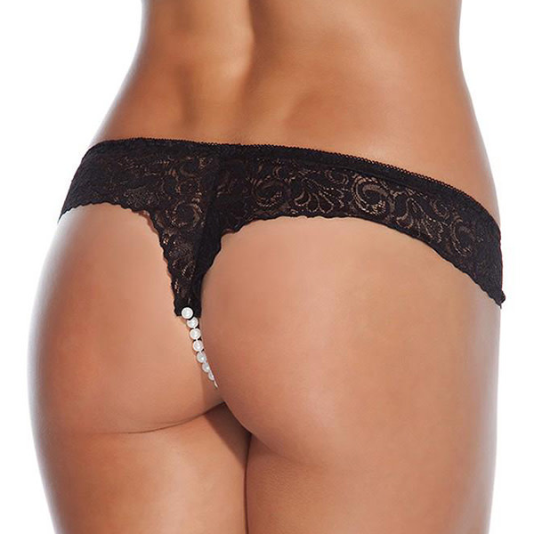 Coquette International Lingerie Low-Rise Lace Beaded Black Thong