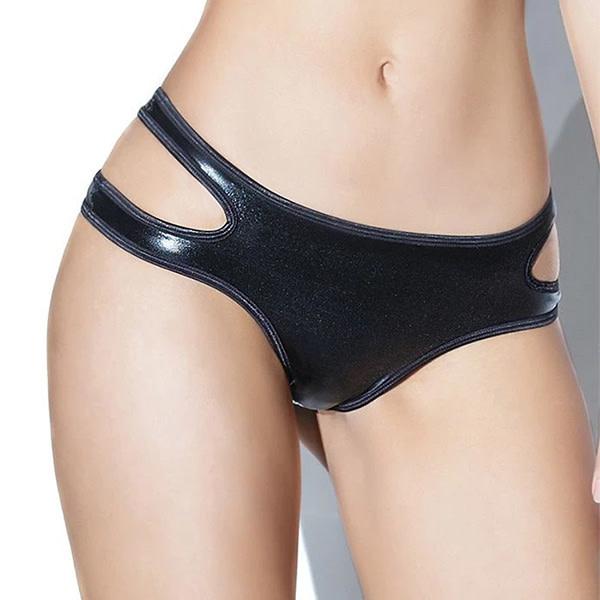 Coquette International Lingerie Black Wetlook Crotchless Panty