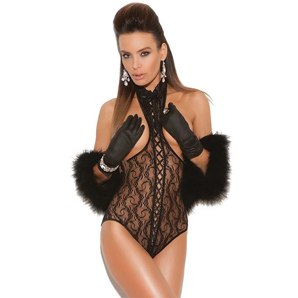 Elegant Moments Lingerie Black Lace Cupless Open Back Teddy