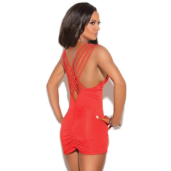 Elegant Moments Lingerie Red Delicious Criss-Cross Mini Dress