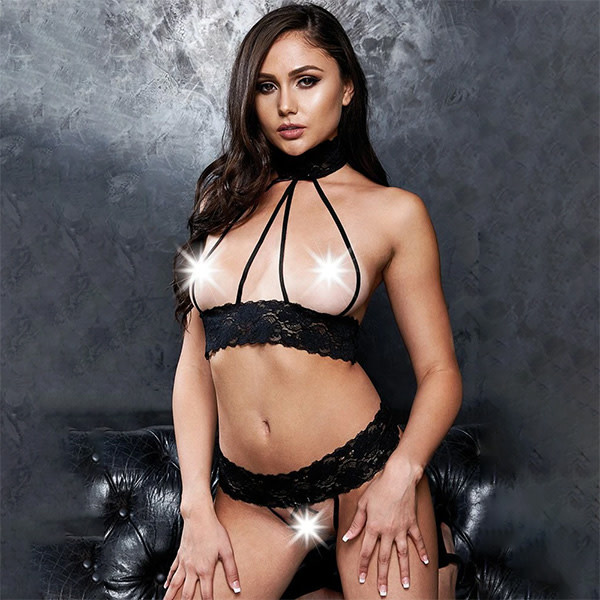 X-Gen Products Cupless to Kill! Black Lace Bralette & G-String