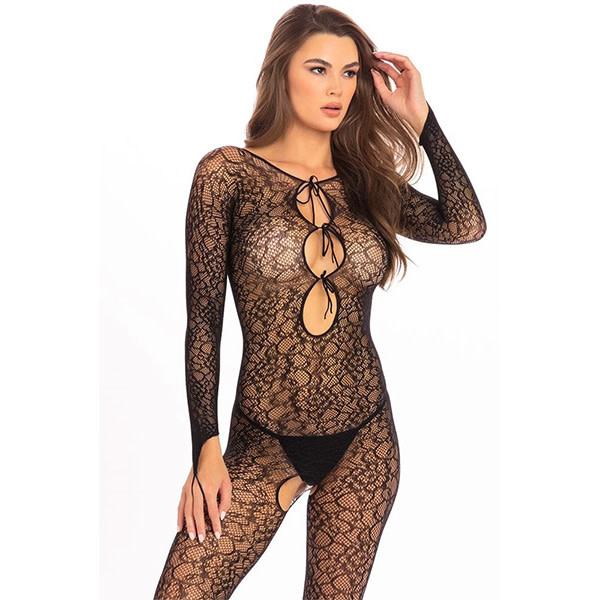 Rene Rofe Lingerie Black Crotchless Lace Bodystocking