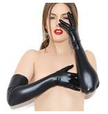 Coquette International Lingerie Wetlook Long Gloves (Black)