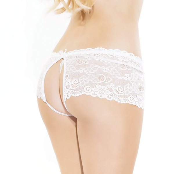 Coquette International Lingerie Scalloped Stretch Lace Crotchless Panty (White)
