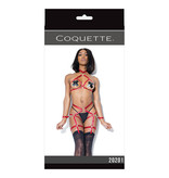Coquette International Lingerie Harness Halter Top and Crotchless Panty Set (Merlot)