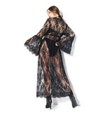 Coquette International Lingerie Lace Robe with Bell Sleeves