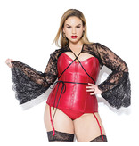 Coquette International Lingerie Lace Shrug with Bell Sleeves (Black)