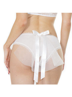 Coquette International Lingerie Bridal Crotchless Panty with Tulle Veil