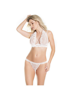 Coquette International Lingerie Tulle Halter Demi Cup Bra Set with Veil Detail