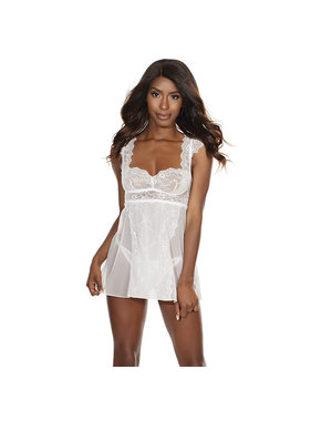 Coquette International Lingerie Cap Sleeve White Babydoll & Thong Set