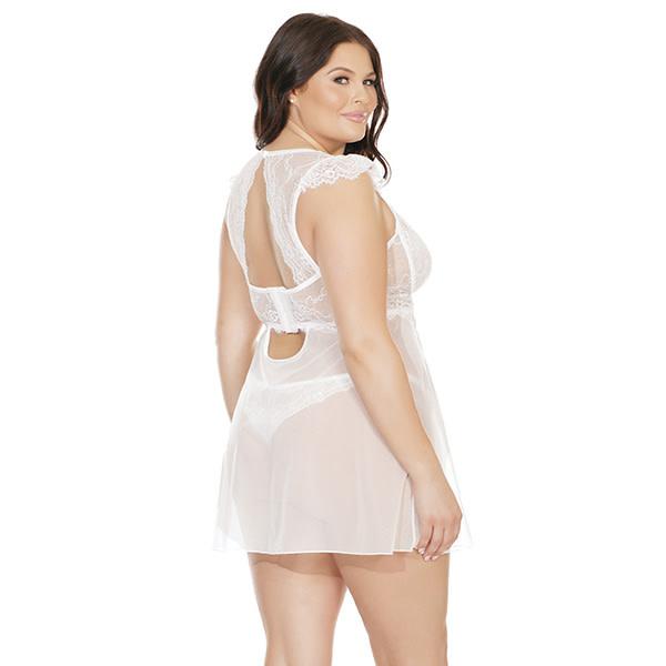 Coquette International Lingerie Cap Sleeve White Babydoll & Thong Set