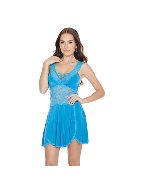 Coquette International Lingerie Lace Midriff Blue Babydoll