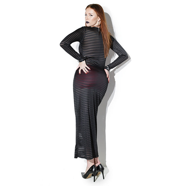 Coquette International Lingerie Striped Stretch Knit Unisex Long Sleeve Gown