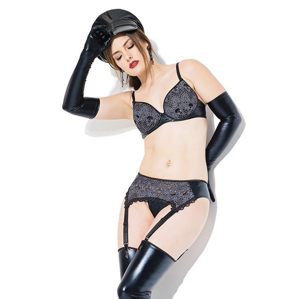 Coquette International Lingerie Wetlook & Lace Bra Set