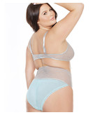 Coquette International Lingerie Misty Blue Lace Bra Top & High Waisted Crotchless Panty