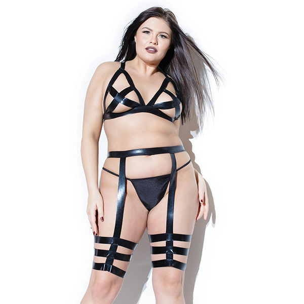 Coquette International Lingerie Wetlook Cross Triangle Top & Leg Harness Set