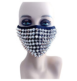 Neva Nude Greed Silver Chrome Stud Face Mask with Filter Pocket