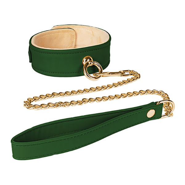 Spartacus Spartacus Plush Lined PU Collar & Chained Leash (Green)