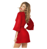 Seven Til Midnight Cardinal Red Satin and Eyelash Lace Robe