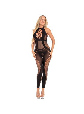 Pink Lipstick On Rails Footless Black Bodystocking