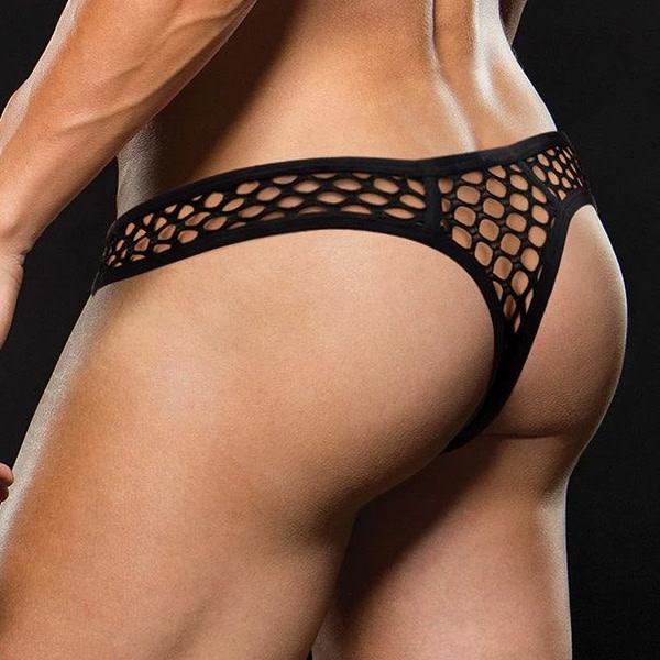 Baci Lingerie Black Modern Fishnet Thong