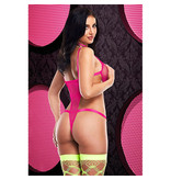 Lapdance Lingerie Sexy Hot Pink Strappy Caged Teddy