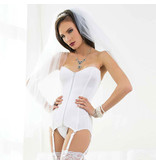 Coquette International Lingerie Zipper Front Stretch Knit Corset (White)