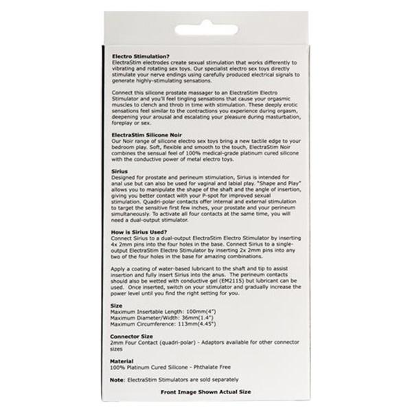 Cyrex Ltd ElectraStim Silicone Noir Sirius Prostate Massager