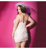 Coquette International Lingerie Lace Bridal Chemise with Front Ribbon Opening (One Size)