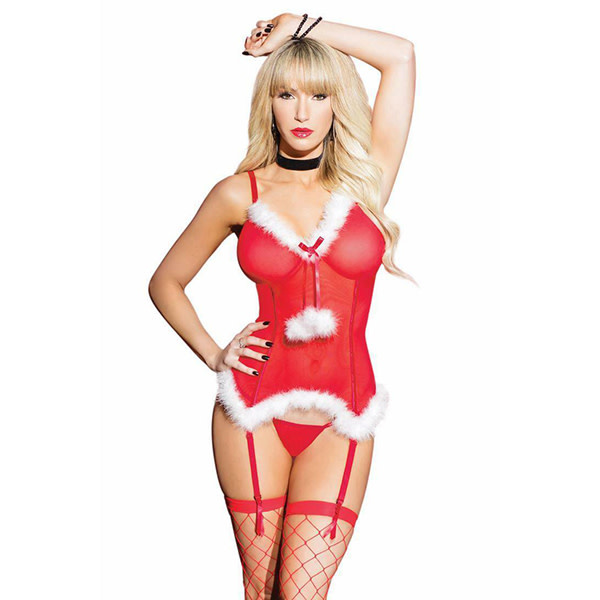Coquette International Lingerie Jingle Bells Faux Fur Bustier and G-String Set (One Size)