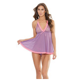 Coquette International Lingerie Triangle Cup with Halter Ties Babydoll (One Size)