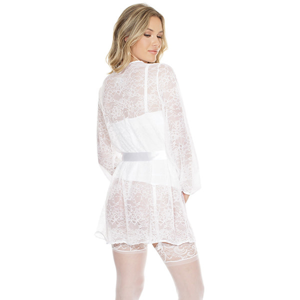 Coquette International Lingerie Stretch Lace Robe with Full Length Sleeves (One Size)