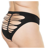Coquette International Lingerie Stretch Knit Panty with Center Back Slashes (Black)