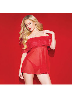 Coquette International Lingerie Off Shoulder Red Lace and Mesh Babydoll